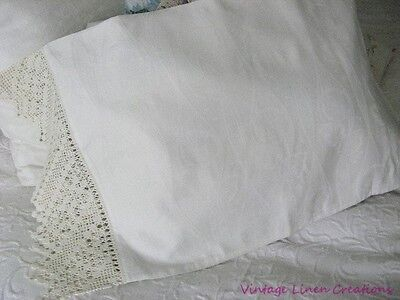 LAVISH Rare ANTIQUE BRIDAL DAMASK Deep CROCHET LACE Romantic VINTAGE PILLOWCASE
