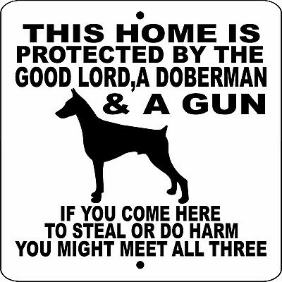"DOBERMAN PINSCHER DOG SIGN,NO TRESPASSING,9"" x 9"" ALUMINUM,GUARD DOG,GLDPG9x9"
