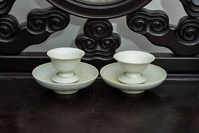 Song Style Chinese Antique Pair of Huozhou Ware Tea Cups PHK322