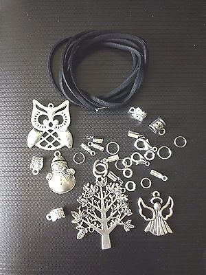 Necklace Kit 1.5 Mt Black Cord Charms Clasps Clamp Ends Jump Rings Charm Bails