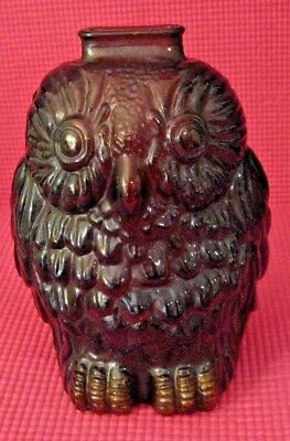 Antique Thick Amber Glass   WISE OLD OWL Piggy Bank   EUC