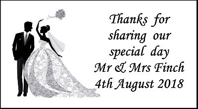 48 Wedding Stickers Party Labels Favours Sweet Bags Thank You Personalised