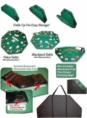 Green Felt Poker Blackjack Table Top Folding Hexagon Drink Holder 8 Player Game