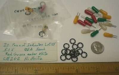 20 Peanut Ultra Miniature Indicator Lights 5V, Chicago Mini., Lot 25 Made in USA
