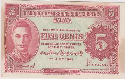 Malaya 1st July 1941 5 Cent Note