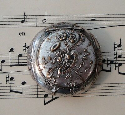 Antique French Art Nouveau Silver Plated Pill Box Compact Rouge Flowers c.1900
