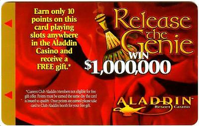 THE ALADDIN hotel casino*RELEASE THE GENIE*Vintage BLANK~LV slot/players card