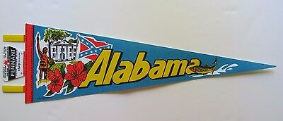 "1980 ALABAMA  Pennant - 25"" long - with Classic State Symbols !!!  (#1226)"