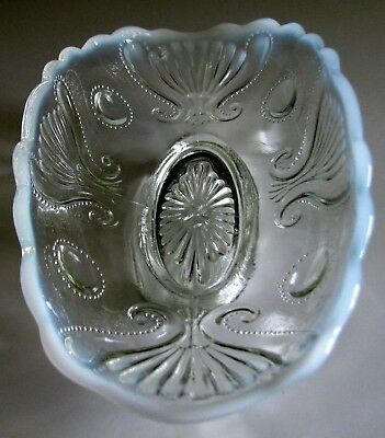Antique (1904) Victorian JEWEL & FAN * Opalescent Oval Celery Dish*by Jefferson