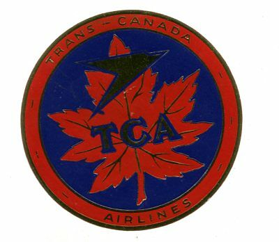 Vintage Airline Luggage Label TCA TRANS CANADA AIRLINES Maple Leaf gold foil