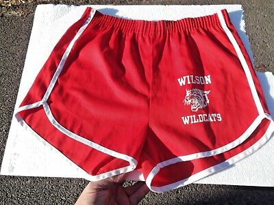 Vintage 70s VELVA SHEEN gym RUNNING shorts MED made in the USA RED WILDCATS30-36
