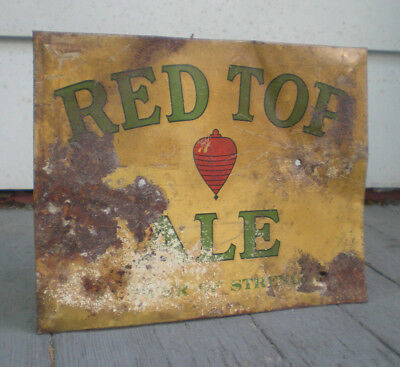 Scarce Early Red Top Ale Tin Over Cardboard Sign TOC Cincinnati Ohio OH As Found