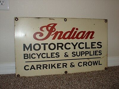Original Indian Motorcycles Sign John Deere Indian Ford Chevy Farm Harvester Cat