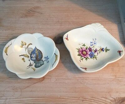 2 Axe Vale Pottery Pin Trays - Floral Designs