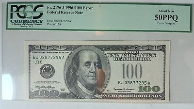 1996 $100 Missing Green Seal Error US Currency PCGS 50 PPQ