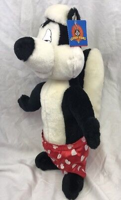 """Looney Tunes Pepe Le Pew 18"""" Plush 1998 Stuffed Skunk Toy Heart Boxer Shorts"""
