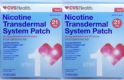 2x Nicotine Patches 21 mg - Step 1 - 7 PATCHES - EXP 06/2018+2019 - NEW In Box