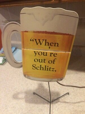 Vintage 1960's Schlitz Beer Rotating  Advertising Sign-Great Shape/Never Used