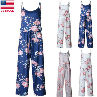 Plus Size Floral Print Women's Casual Sleeveless Long Wide Pant Jumpsuit Rompers