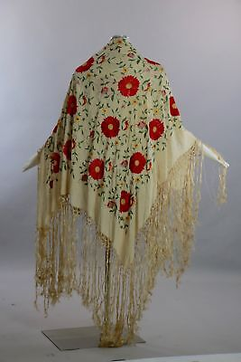 Vintage 20s silk piano shawl hand embroidered floral birds hand knotted fringe