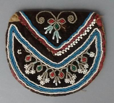 Vintage Native American Iroquois Cree Beaded Pouch Bead Work Bag
