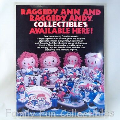 RAGGEDY ANN & ANDY~1988 Flambro~Store Display~Product Advertising Sign Card~NOS