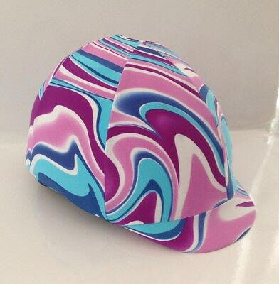 Horse Helmet Cover Pink And Blue Swirls Lycra AUSTRALIAN  MADE