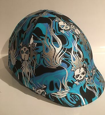 Horse Helmet Cover Blue With Skulls Lycra AUSTRALIAN  MADE