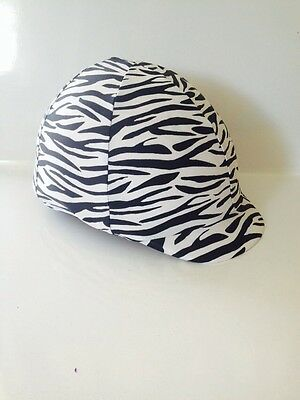 Horse Helmet Cover Zebra Black And White Print AUSTRALIAN  MADE