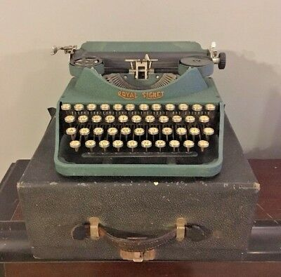 Vtg 1930s Royal Signet Portable Typewriter Green Crackle Finish With Case AS IS