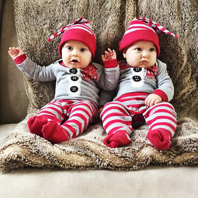 USA Christmas Baby Boy Girl Xmas Santa Jumpsuit One-piece Romper Outfits Clothes