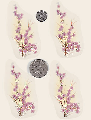 """4 x Waterslide ceramic decals Decoupage. Cherry blossom. 3 3/4"""" x 2"""" PD630"""