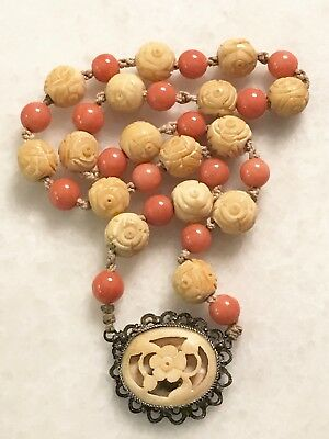 Antique VINTAGE Chinese CORAL Bead Choker NECKLACE with SILVER CARVED PENDANT