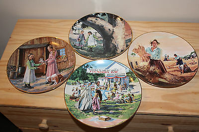LITTLE HOUSE ON THE PRAIRIE Collector Plate Set of 4 No Boxes 3 COA