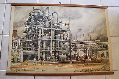 Original vintage pull down school chart of chemical plants , industrial