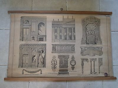 Original vintage school chart of the Empire architectural style