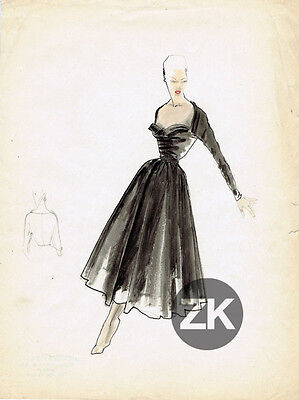 JACQUES FATH Couturier France Fashion Mode Robe Haute couture DESSIN 1949