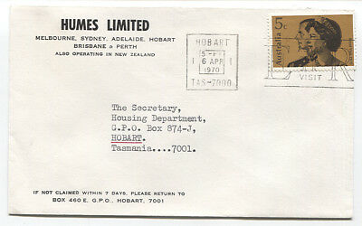 AUSTRALIA 1970: small commercial cover with single 5c Royal Visit franking