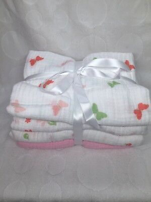 4 Muslin Swaddle Receiving Blankets by Aden and Anais Baby Girl Pink Flowers