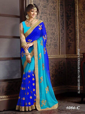 INDIAN Blue Faux Georgette Embroidered saree With Unstitched Blouse Piece-10281
