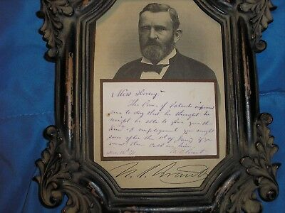 18Th President Of U.s. Ulysses S. Grant Fully Handwritten & Signed 1881 Note Ans