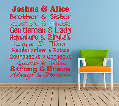 Personalised Brother & Sister, Wall Sticker, Mural, Decal. Children, Playroom