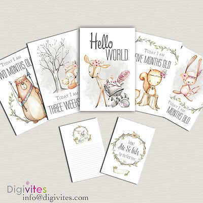 Baby Milestone Cards, Baby Moments and Milestones, Baby Shower, Announcements.