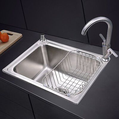 Stainless Steel 1.0 Single Bowl Square Kitchen Sink with Tap Inset Topmount