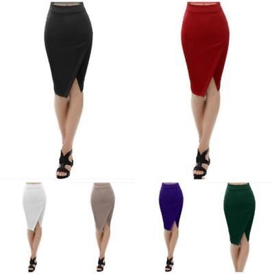 New Womens ladies Plain Bodycon Pencil High Waisted Ladies Stretch Midi Skirt BS