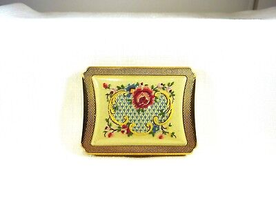 Vintage 1940's KIGU Embroidered Gold Tone Mirror Powder Compact