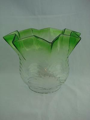 """Antique Graduated Green Moulded Glass Fluted Tulip Oil Lamp Shade 4"""" Fitter"""