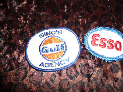 Vintage GULF Gas & Oil Service Station and ESSO Embroidered Patch 2 LOT