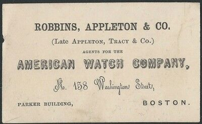 1860s Boston Agents for the American Watch Company Card - Waltham Watches