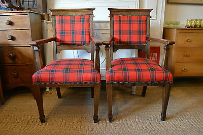 Pair Of Arts & Crafts Oak Armchairs Upholstered In Tartan